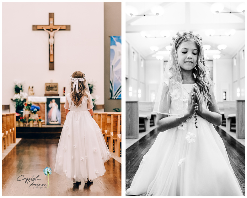 Hannah's First Communion Portrait Session at Catholic Church of the Nativity