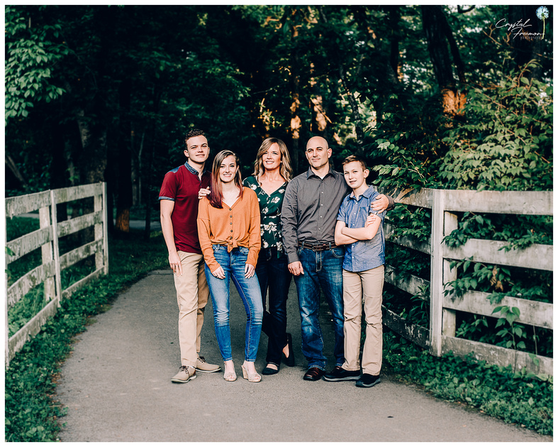 Family of 5 portrait session with three teens at Aspen Grove Park in Franklin, TN