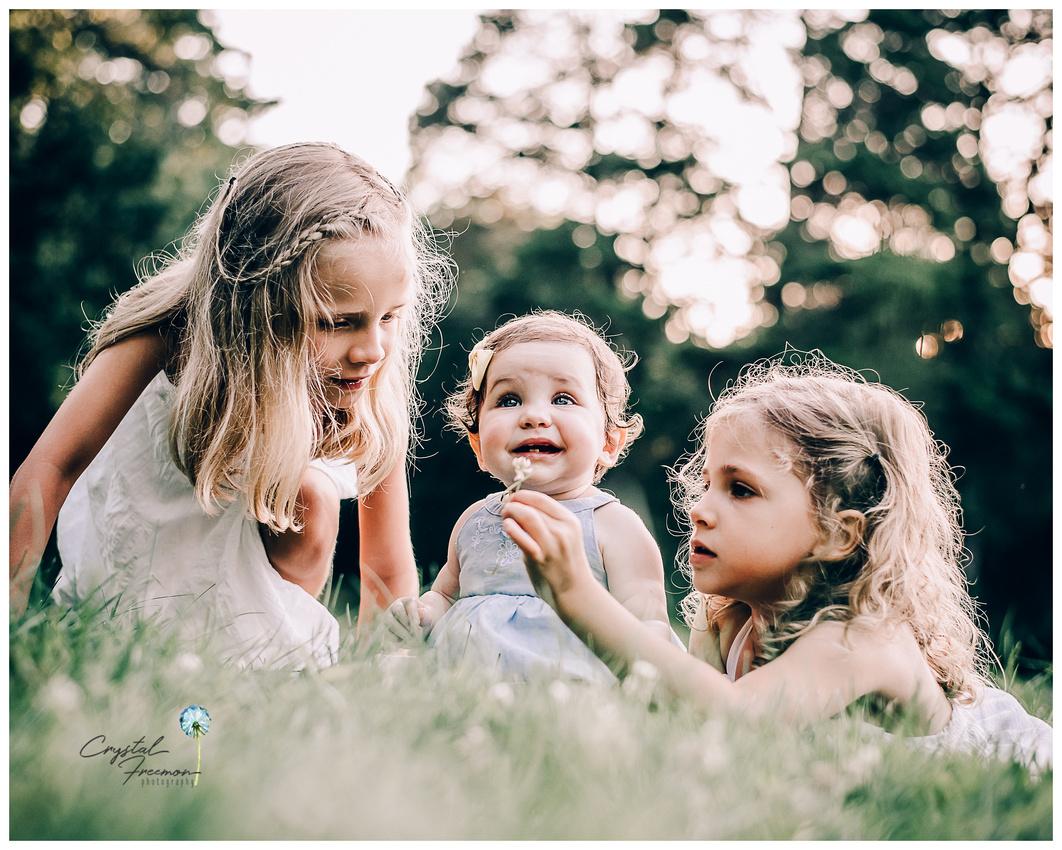 Nashville Children's photographer photo of three girls picking flowers.