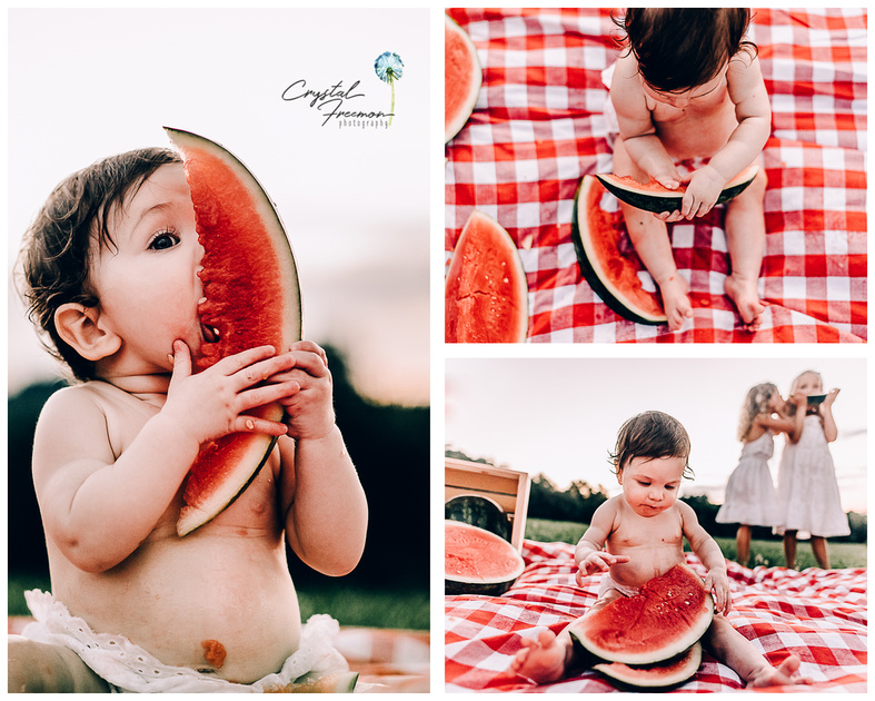One-year old milestone photo session with watermelon alternative to cake smash in Franklin TN with Crystal Freemon Photography