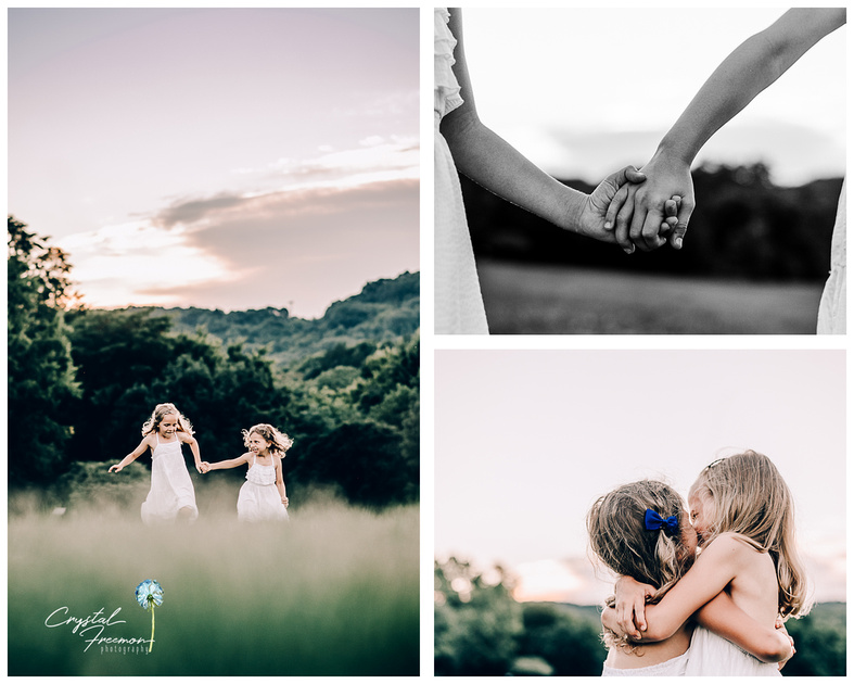 Sisters playing at sunset captured by Crystal Freemon Photography in Spring Hill, TN