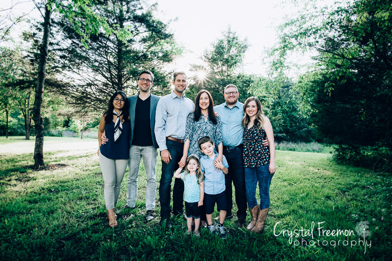 One Mother, Three adult children plus two spouses, and two preschool grandchildren at Spring Hill TN Extended Family Portrait Session