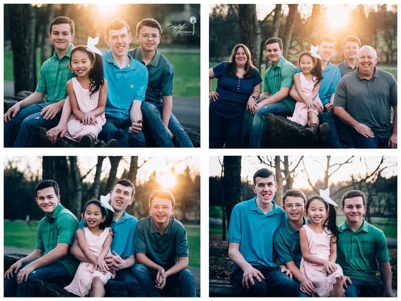 Family of six with older kids and teens